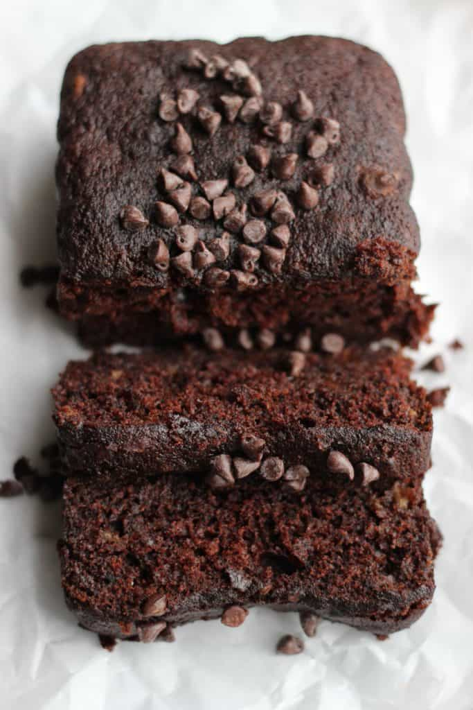 Instead of throwing out your overripe bananas, make this heavenly smelling recipe for a double chocolate banana cake instead! #bananacake #chocolatebananacake #chocolatecake #banana frostingandfettuccine.com