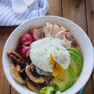 Easy Asian inspired noodle bowls that come together quickly using leftovers. #noodlebowls #easydinner frostingandfettuccine.com
