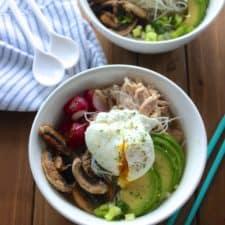 Easy Asian inspired noodle bowls that come together quickly using leftovers. #noodlebowls #easydinner frostingandfettuccine.com