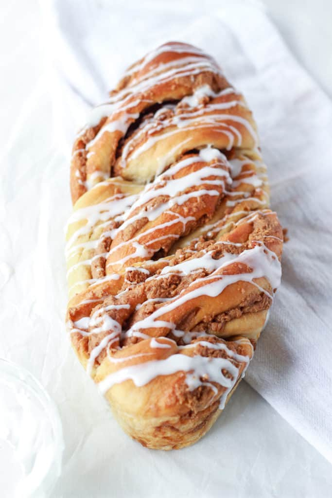 This cookie butter babka is so worth the effort, because it is the best babka ever! Plus it can be made dairy free! Shove it in the oven and wait for the intoxicating smell to take over your house. #cookiebutter #babka #bestbabka frostingandfettuccine.com