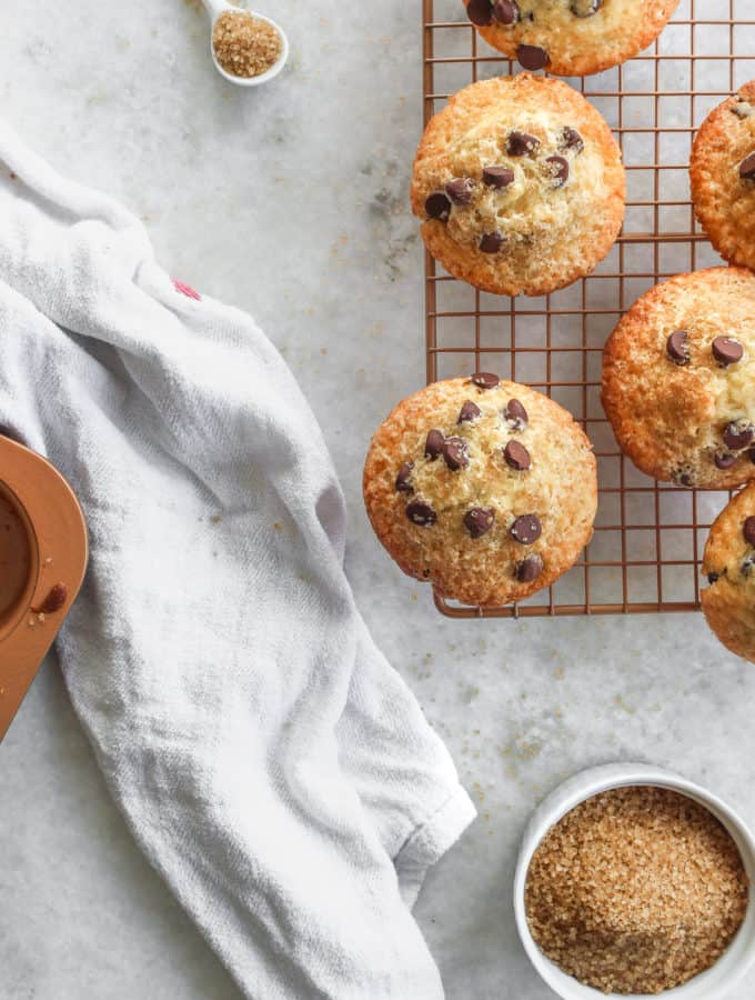 Classic chocolate chip muffins turned dairy free! They come together quickly and taste so good you wouldnt even know they are dairy free. #chocolatechipmuffins. Frostingandfettuccine.com