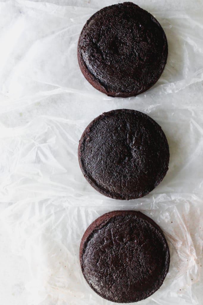 3 chocolate cake layers