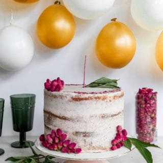 Not your everyday cake! This beautiful creation is a cardamom and orange infused birthday cake with rose buttercream, made for Melinda of kitchen-tested.com for her 35th bday! #happybirthday #35 #cake #foodbloggers kitchen-tested.com and frostingandfettuccine.com