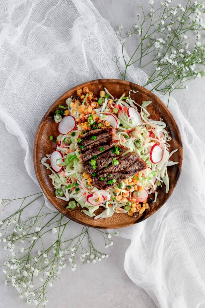 Summer Steak Salad with Strawberry Dressing-- An easy, light, and refreshing summer salad that you can make ahead an not waste any summer sun! frostingandfettuccine.com