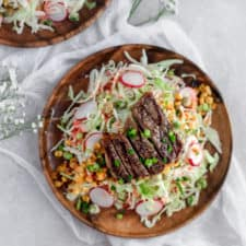 Summer Steak Salad with Strawberry Dressing-- An easy, light, and refreshing summer salad that you can make ahead and not waste any summer sun! frostingandfettuccine.com