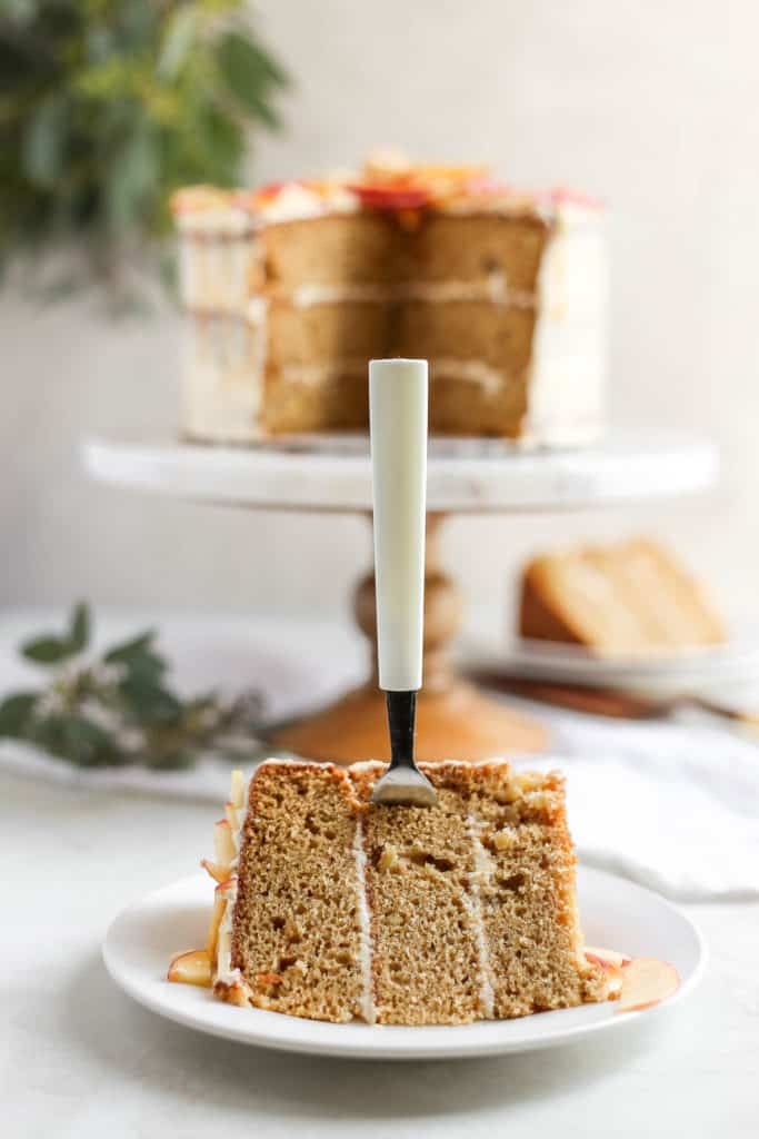A piece of brown cake styled with a fork sticking into it on a light background.