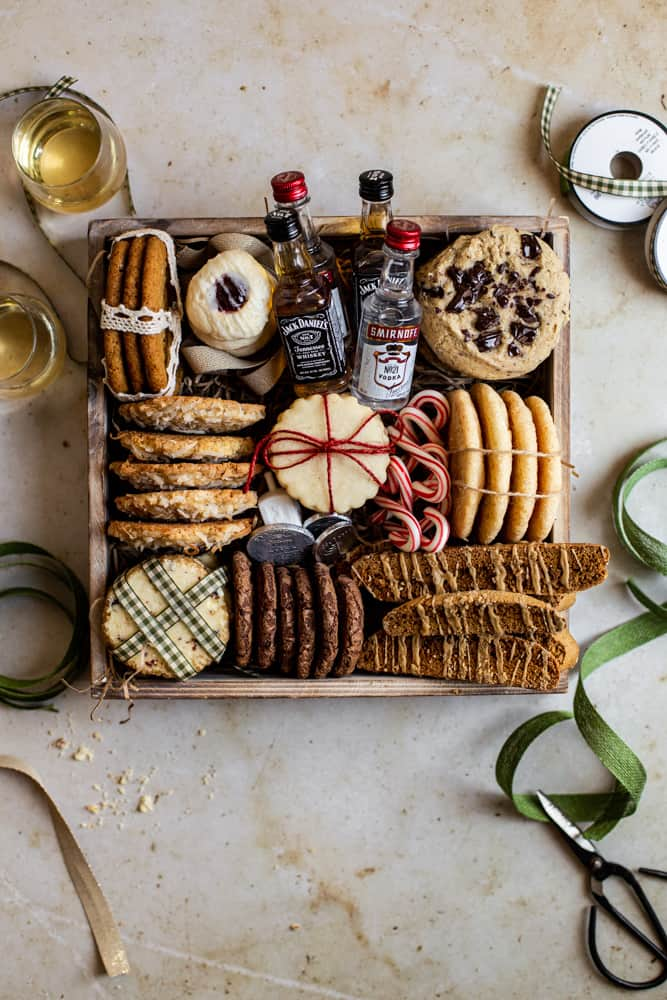 Christmas cookies in a box with ribbon