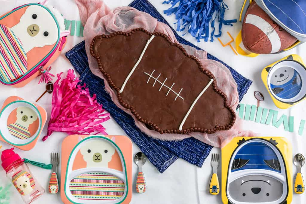 A diy pull apart cupcake cake in the shape of a football