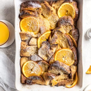 Confectioners sugar topped challah French toast casserole