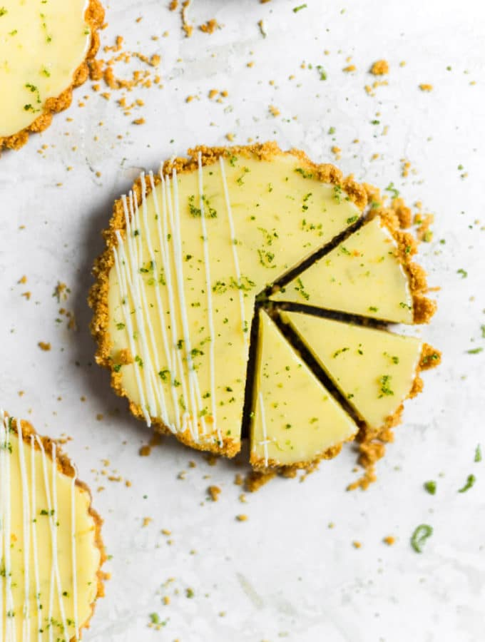 3 slices cut out if a mini key lime pie