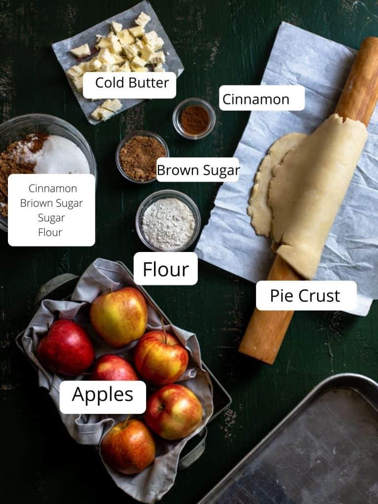 Ingredients for apple pie bar recipe