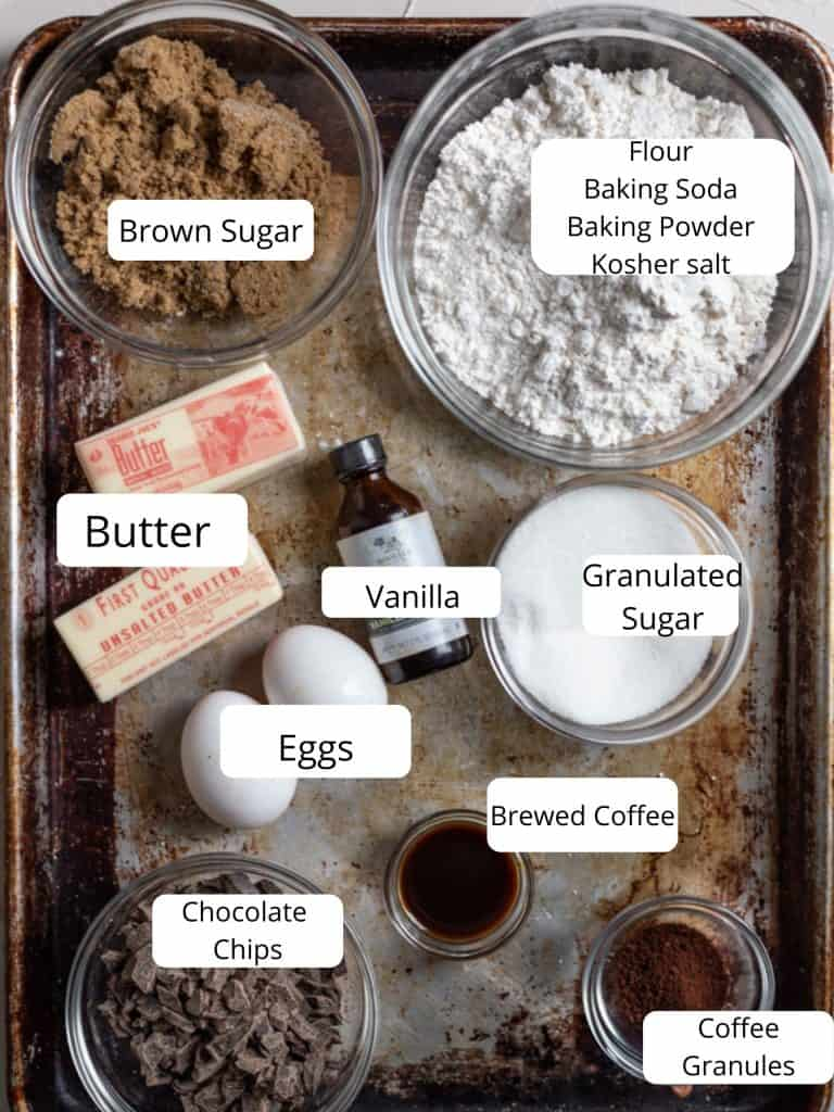 Ingredients for coffee cookie recipe