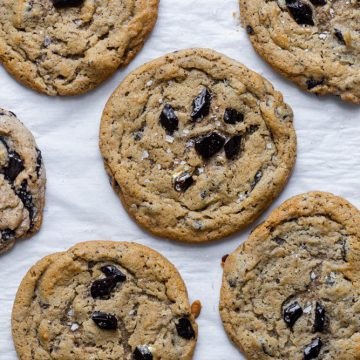coffee cookies on a piece of parchment paper