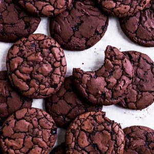 Chocolate brownie cookies on parchment paper