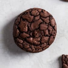 The top of a chocolate brownie cookie