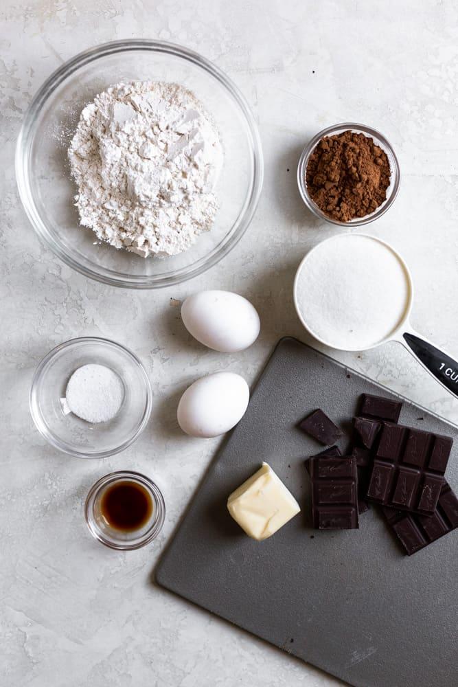 ingredients for chocolate brownie cookies