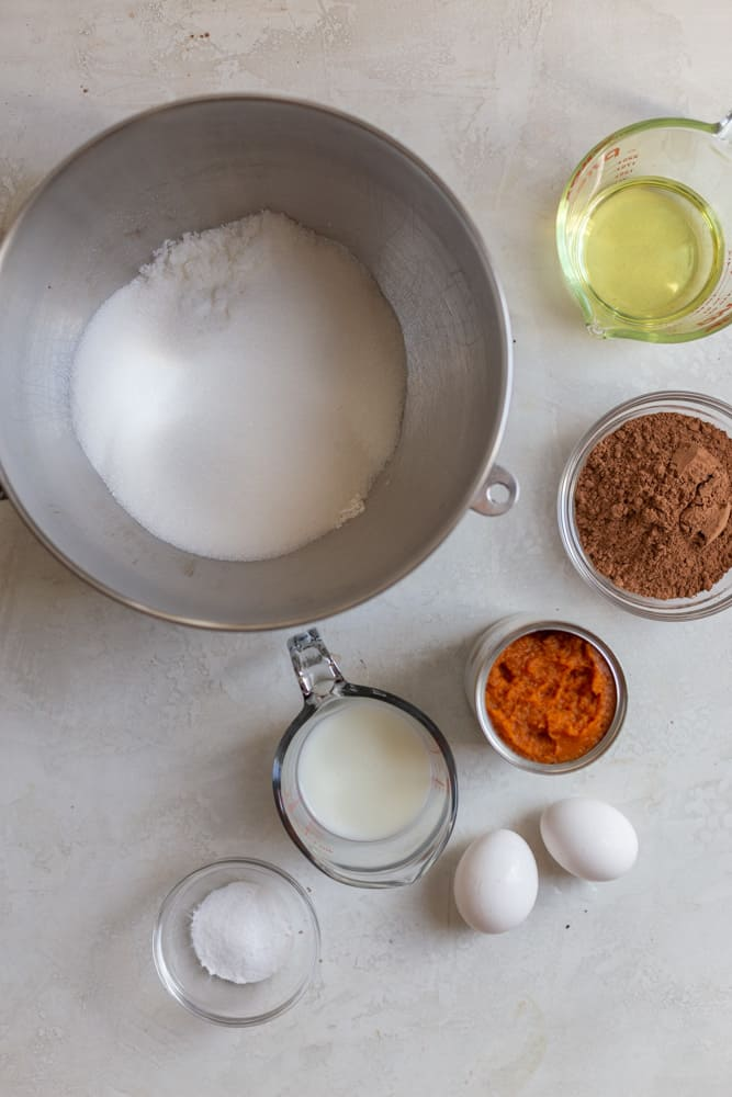 Ingredients for a chocolate pumpkin cake