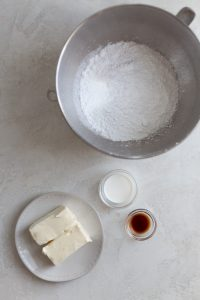ingredients for a classic american buttercream recipe