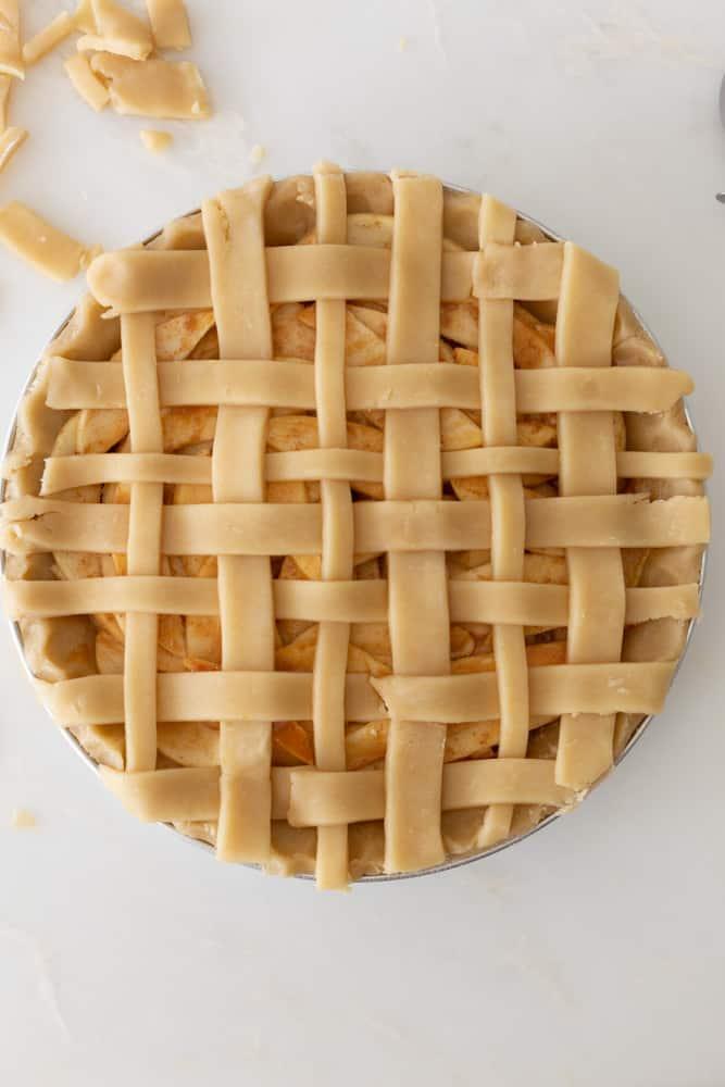 A lattice crust on a pie