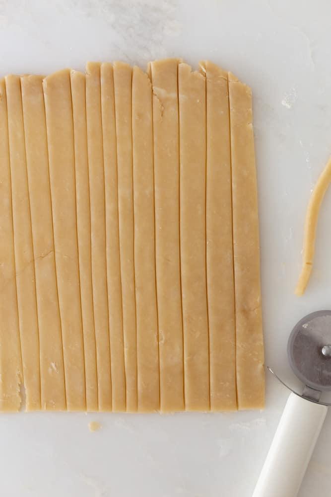 pie crust cut into straight lines