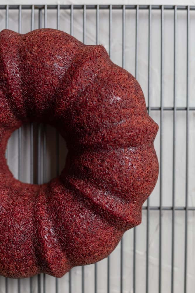 a perfectly released bundt cake on a wire rack