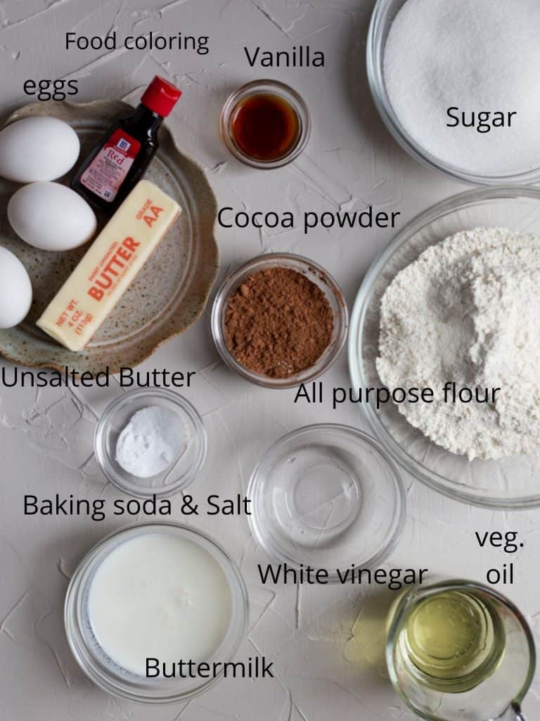 Ingredients for a red velvet bundt cake recipe