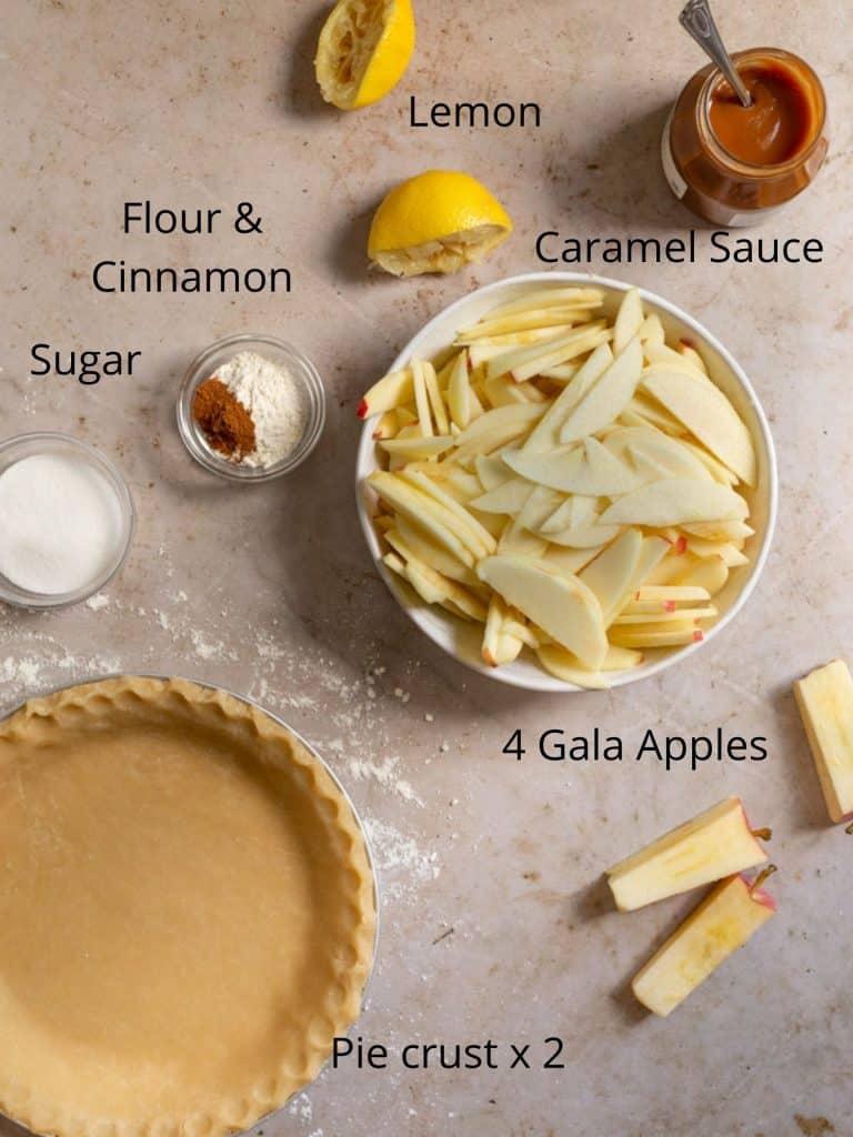 Ingredients for caramel apple pie recipe