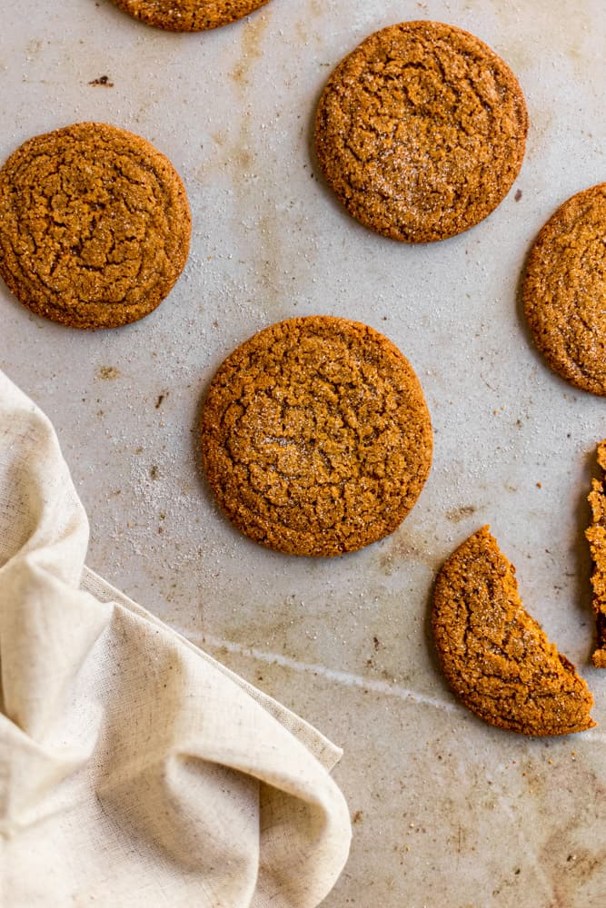 Gingersnap cookies on laid out on a marbelized surface