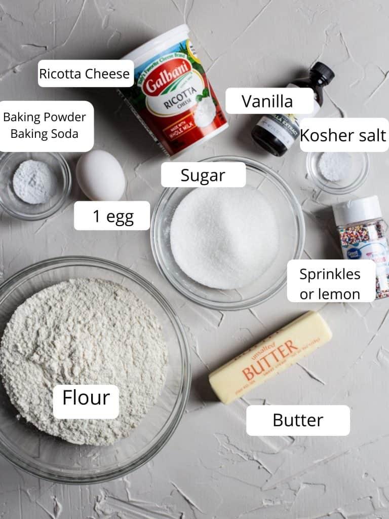 Ingredients for Italian ricotta cookies