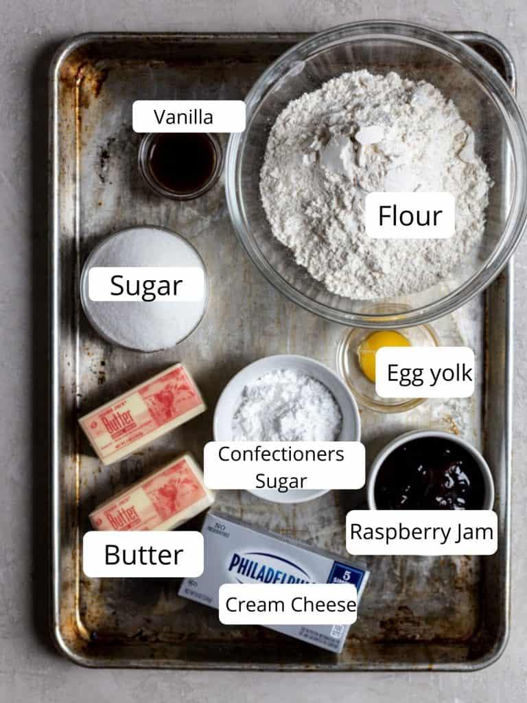ingredients for thumbprint cookies