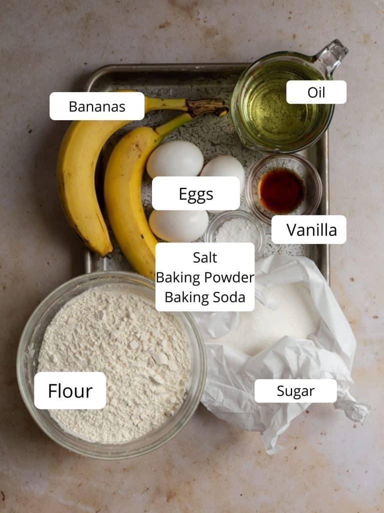 Ingredients for a banana bundt cake recipe