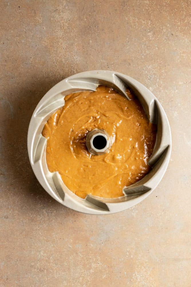 Carrot Bundt Cake batter in a bundt pan