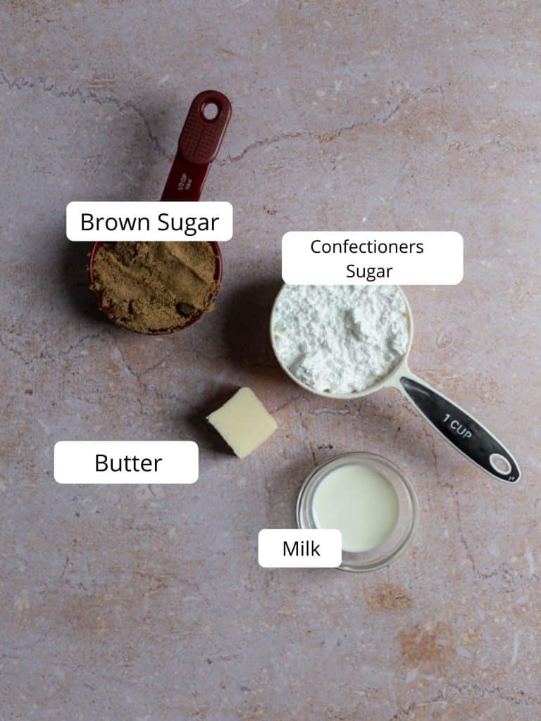 Ingredients for brown sugar glaze
