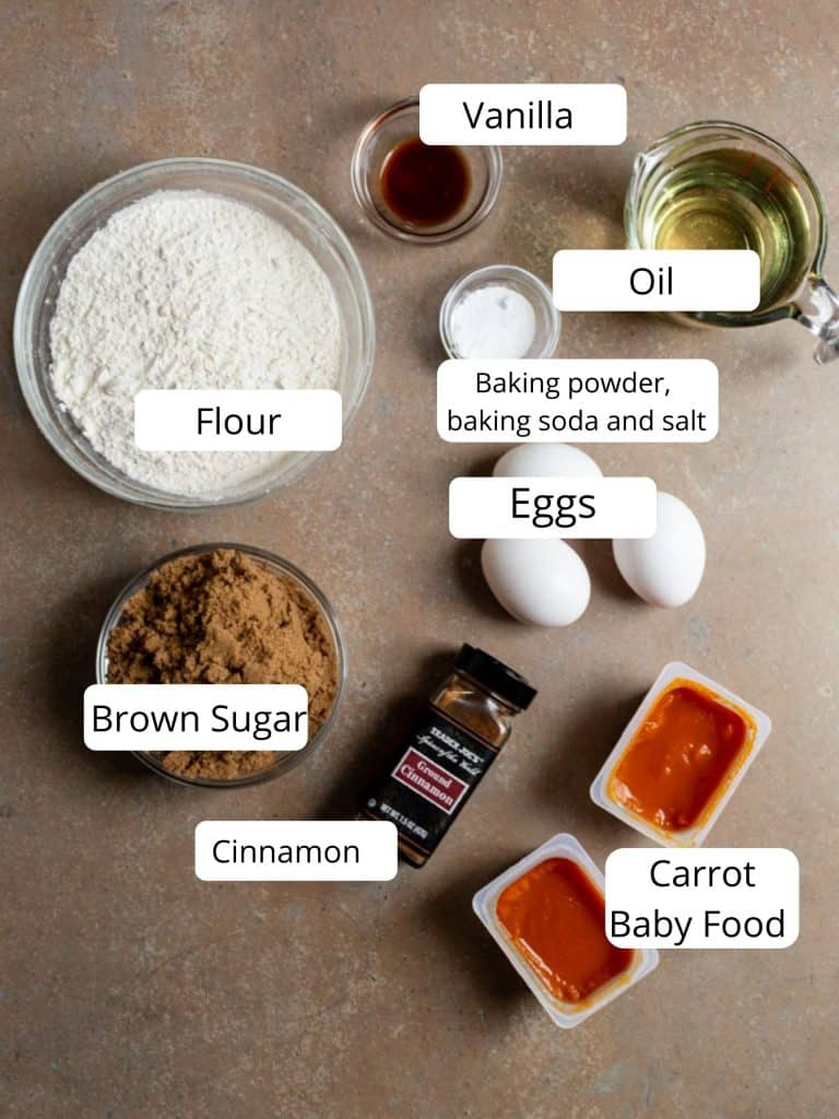Ingredients for carrot cake