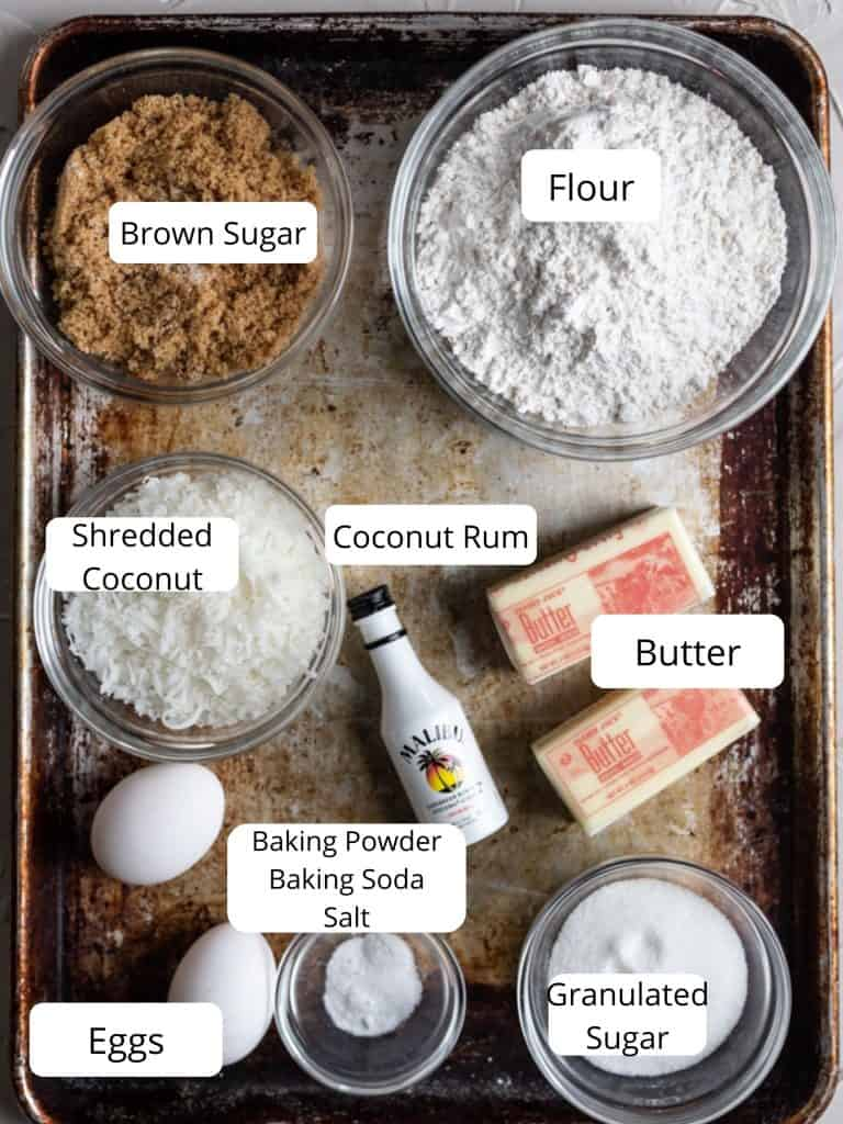 Ingredients for coconut cookies