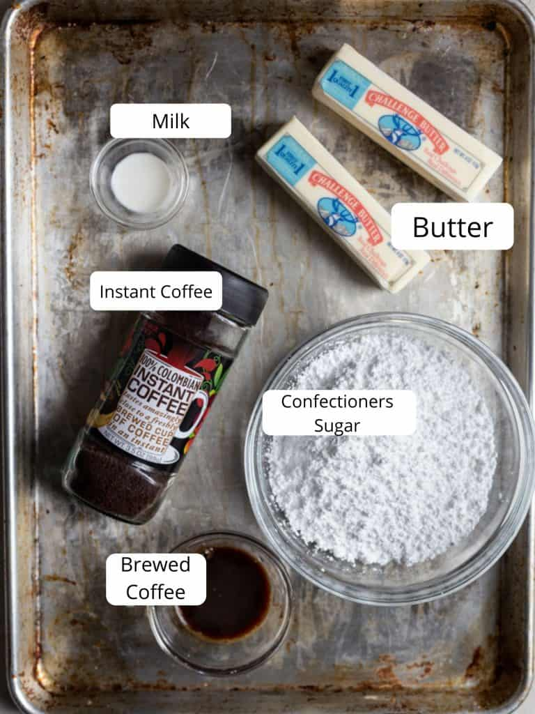 Ingredients for coffee frosting