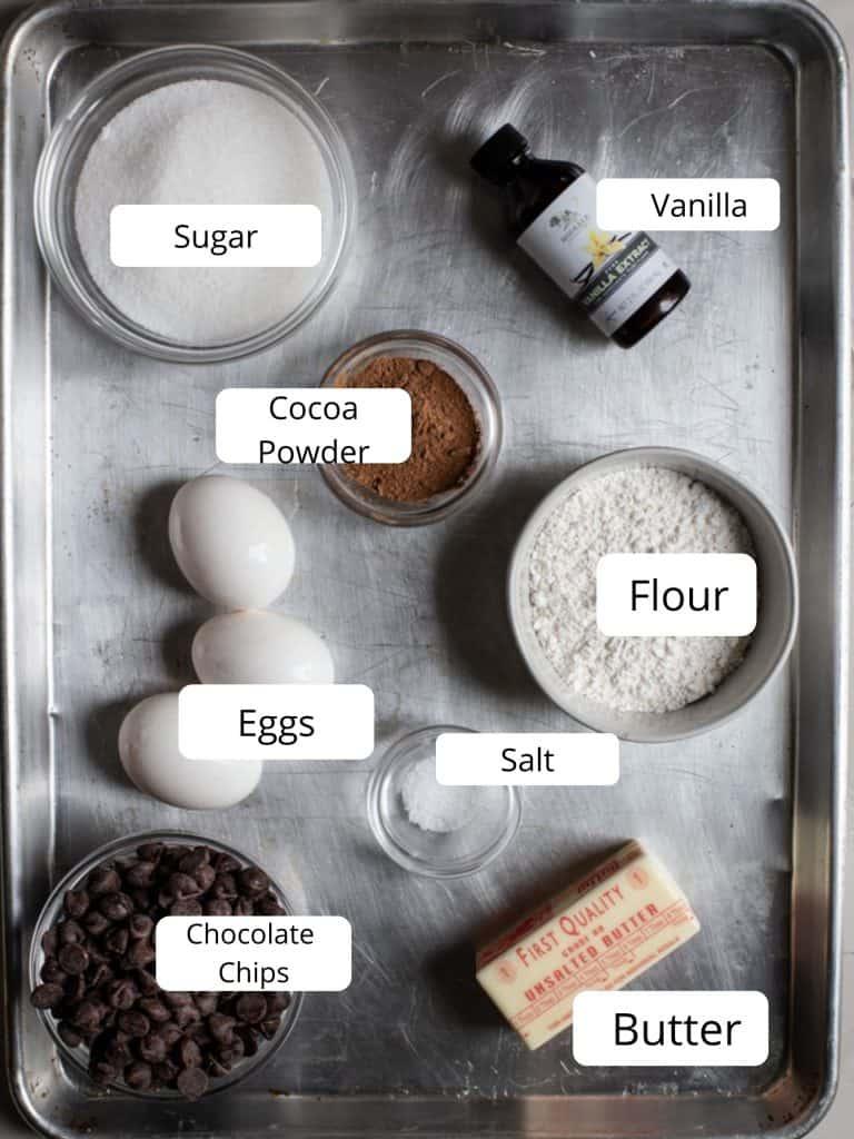 Ingredients for one bowl brownies recipe