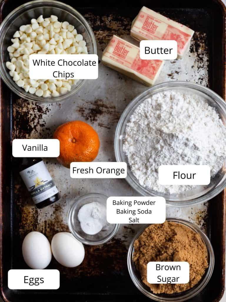 Ingredients for orange cookies