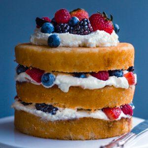 Close up of chantilly cake layers