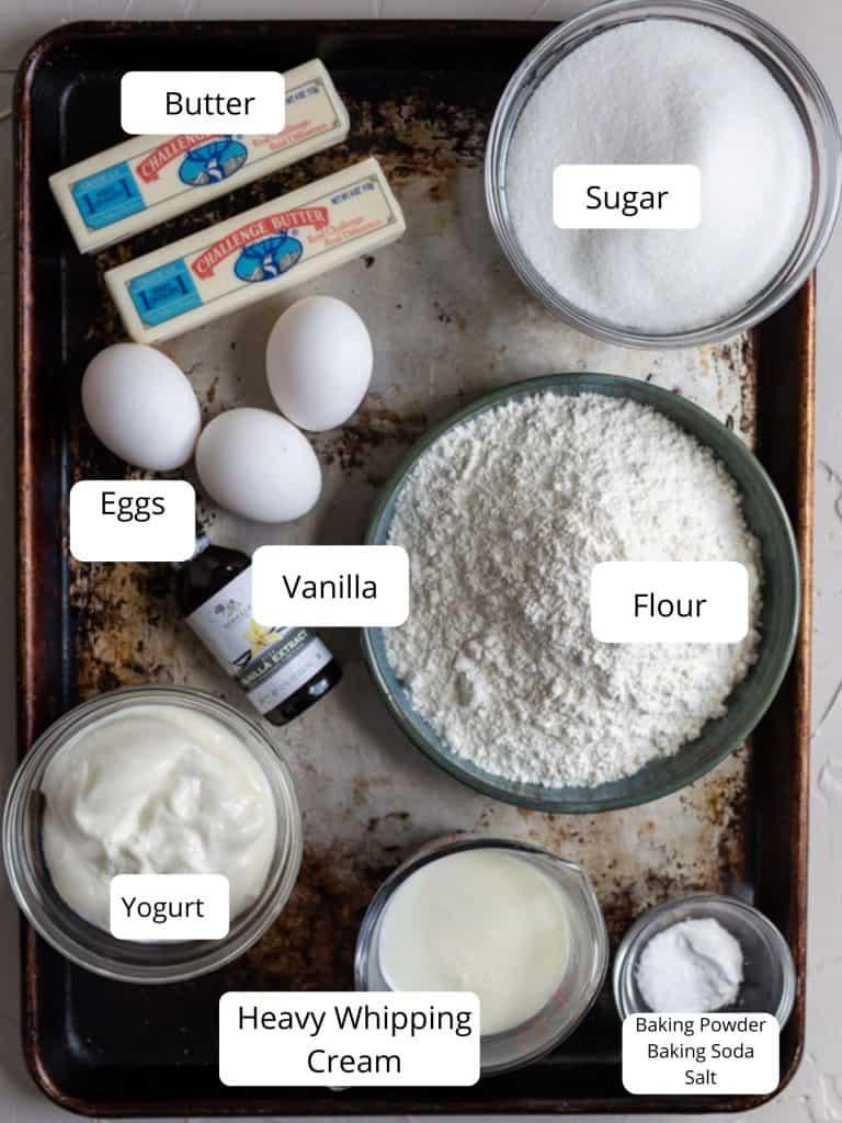 Cake ingredients for Chantilly cake