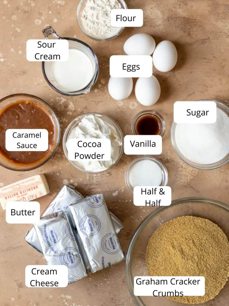 Ingredients for salted caramel cheesecake recipe