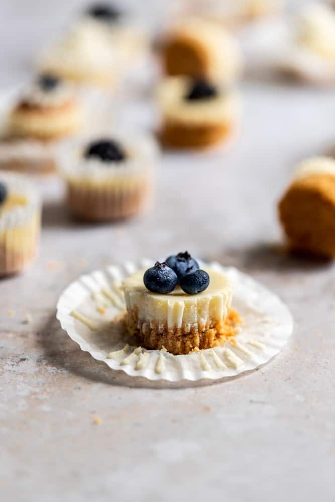 A mini cheesecake bite topped with blueberries