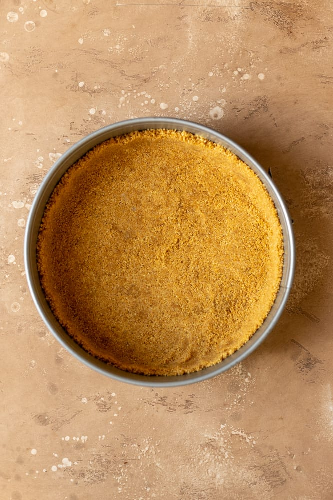 Graham cracker crust pressed to the sides of a springform pan