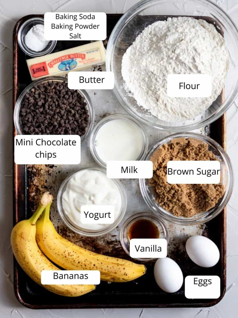 ingredients for chocolate chip banana muffins