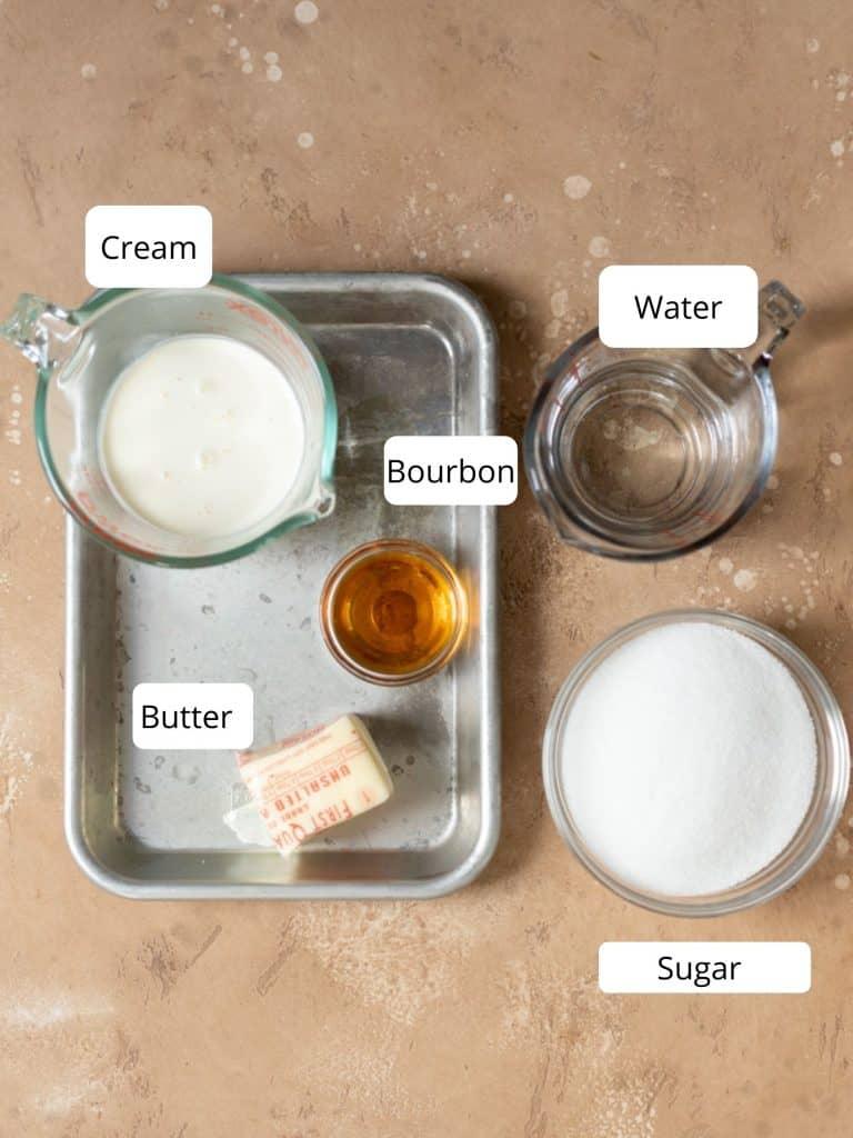 Ingredients for bourbon caramel sauce