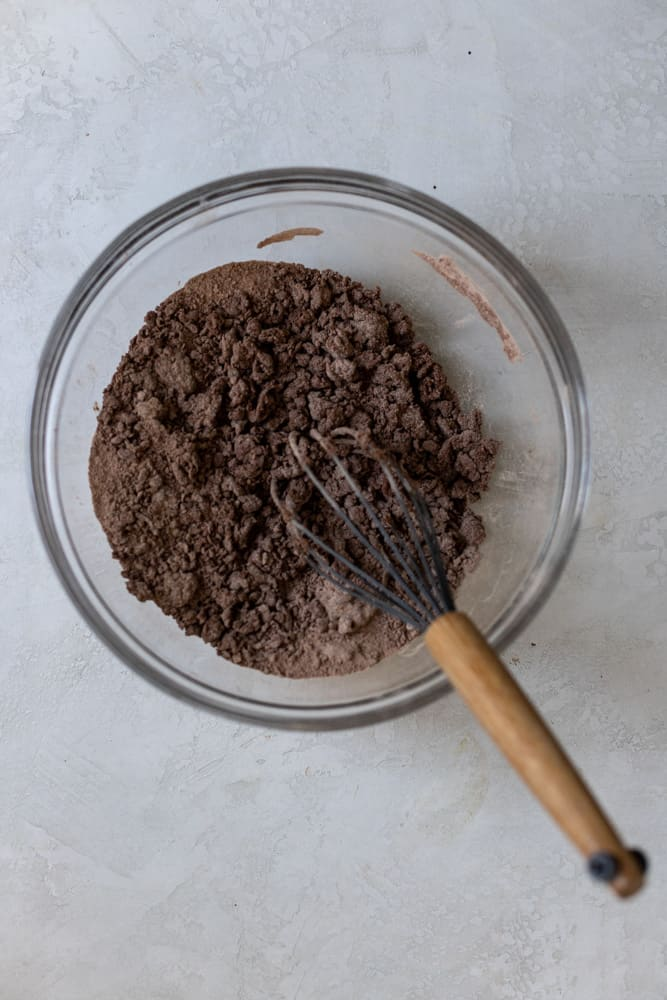 dry ingredients in a glass bowl