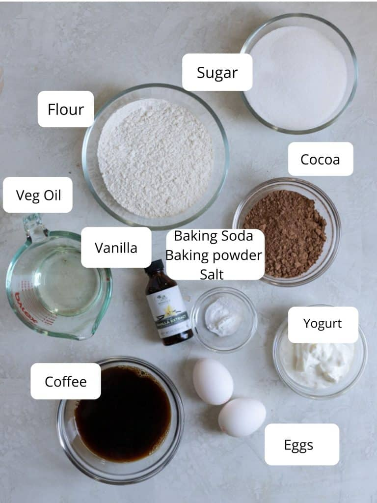 Ingredients for a small 6 inch chocolate cake recipe