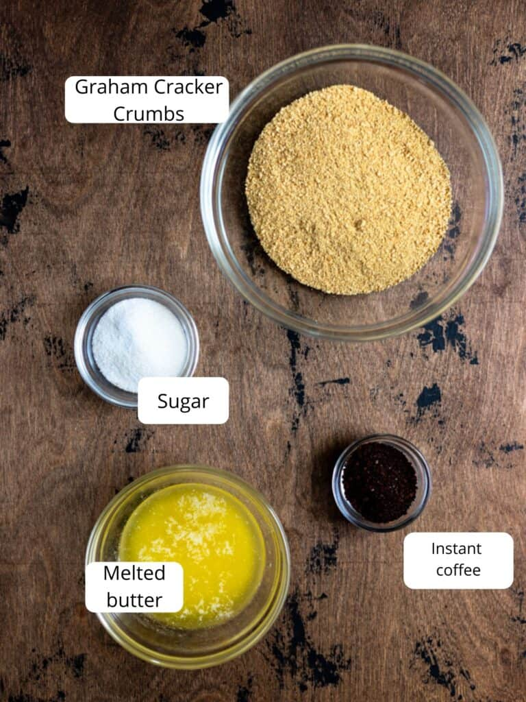 ingredients for coffee infused graham cracker crust
