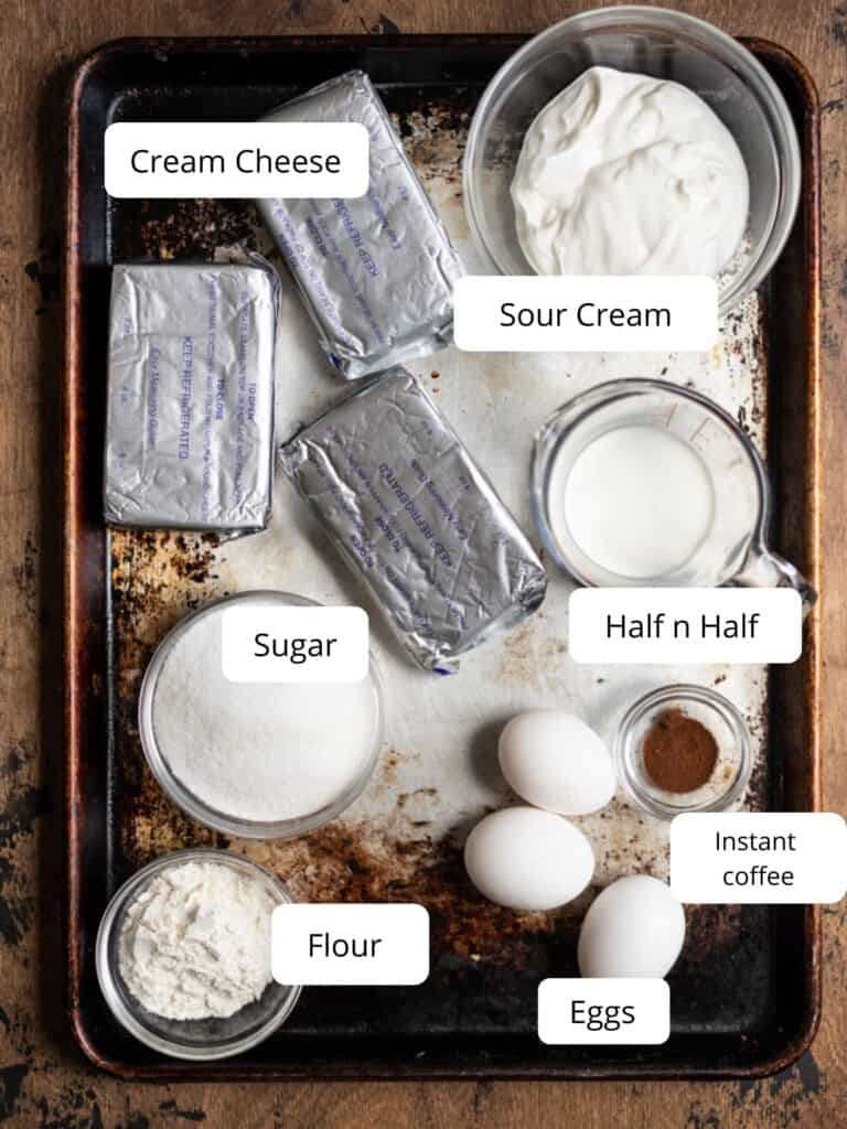 ingredients for coffee cheesecake